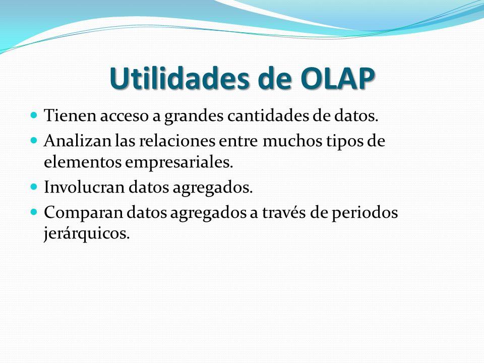 Utilidades de OLAP Tienen acceso a grandes cantidades de datos.