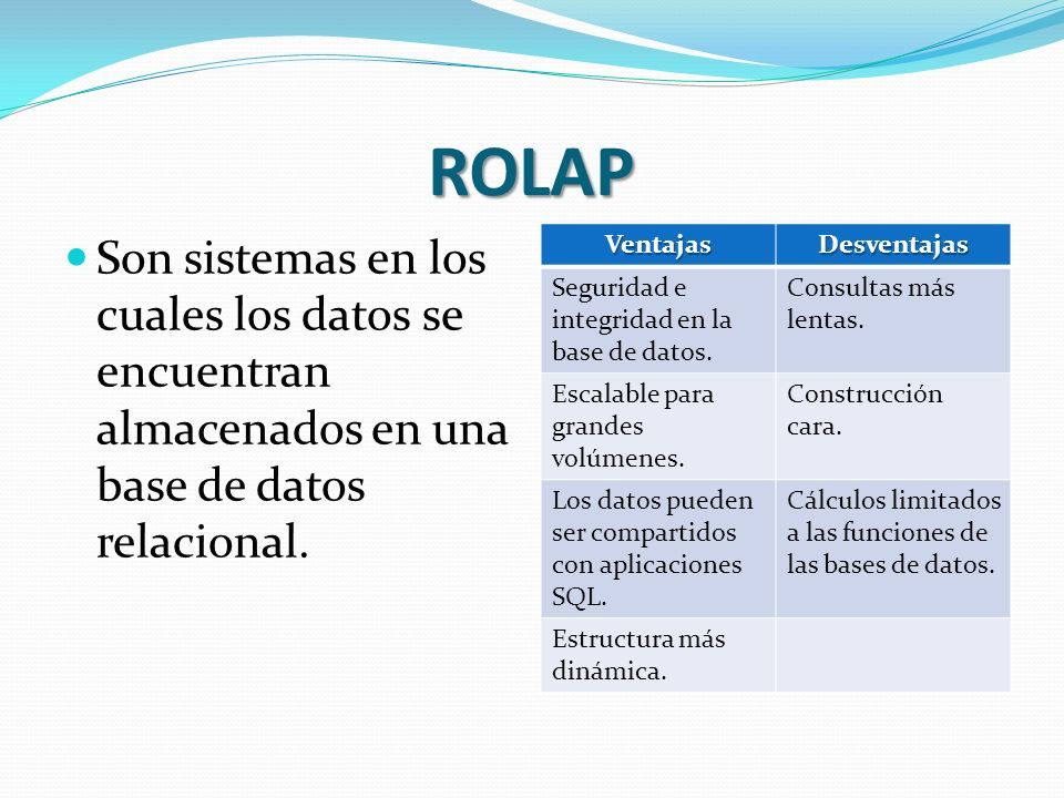 ROLAPSon sistemas en los cuales los datos se encuentran almacenados en una base de datos relacional.