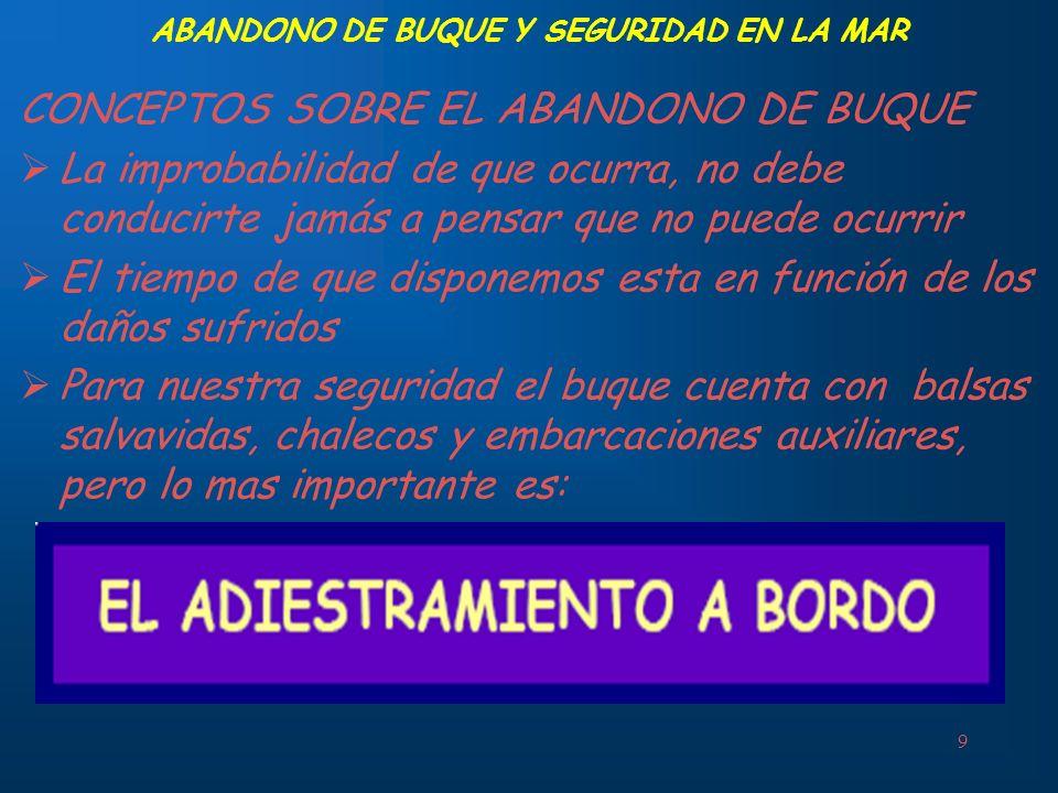 ABANDONO DE BUQUE Y SEGURIDAD EN LA MAR