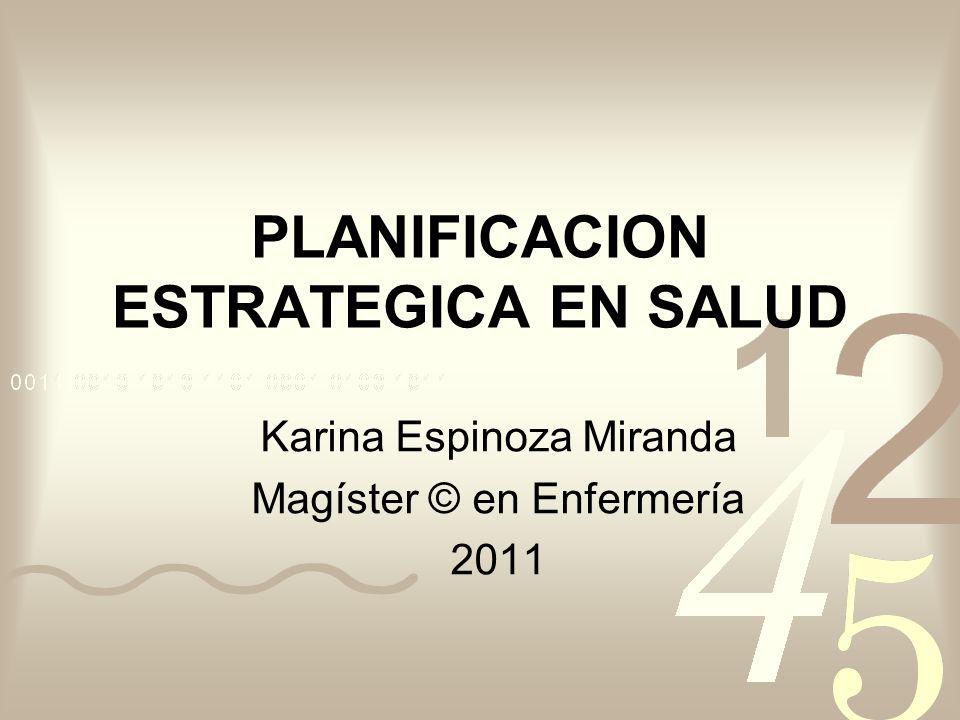 PLANIFICACION ESTRATEGICA EN SALUD