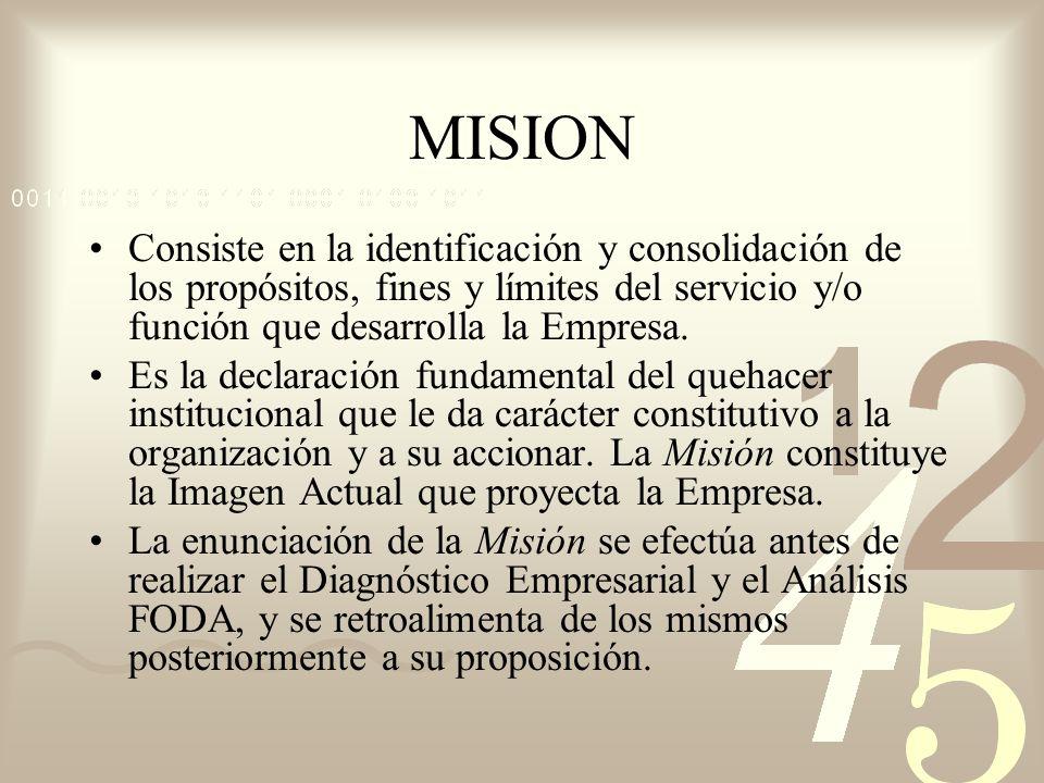 MISION Consiste en la identificación y consolidación de los propósitos, fines y límites del servicio y/o función que desarrolla la Empresa.