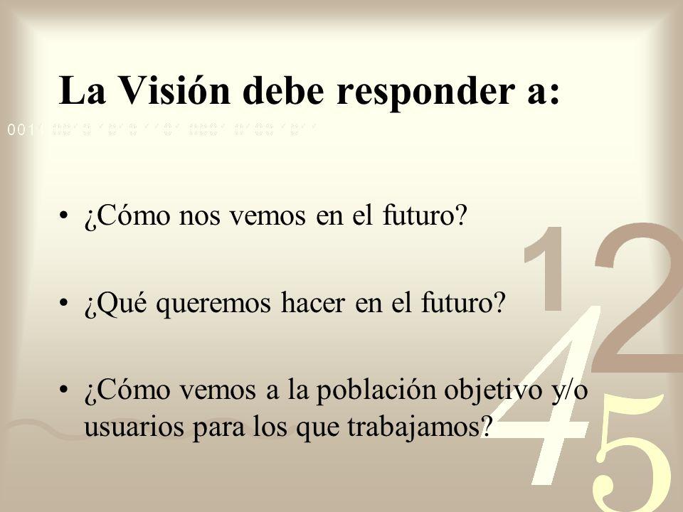 La Visión debe responder a: