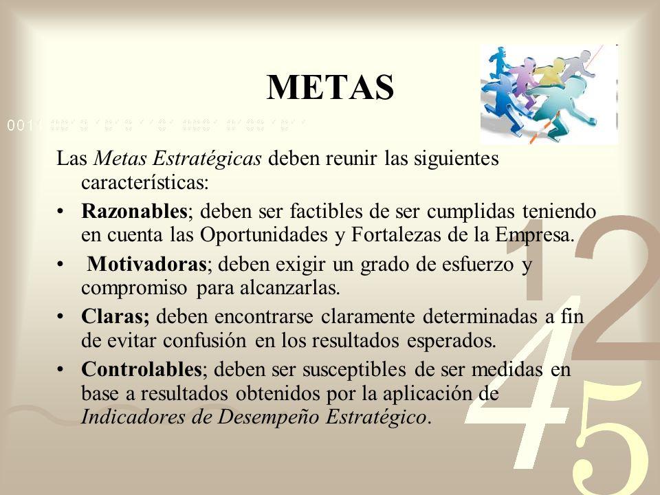 METAS Las Metas Estratégicas deben reunir las siguientes características: