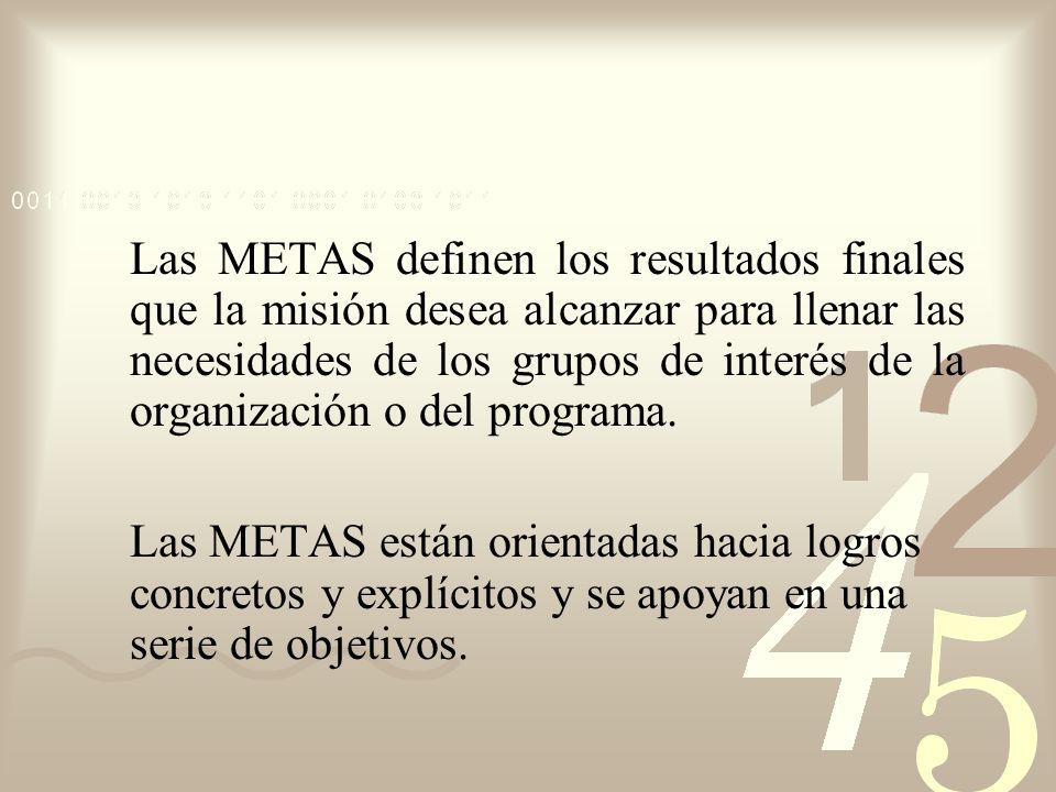 Las METAS definen los resultados finales que la misión desea alcanzar para llenar las necesidades de los grupos de interés de la organización o del programa.