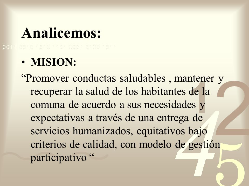 Analicemos: MISION: