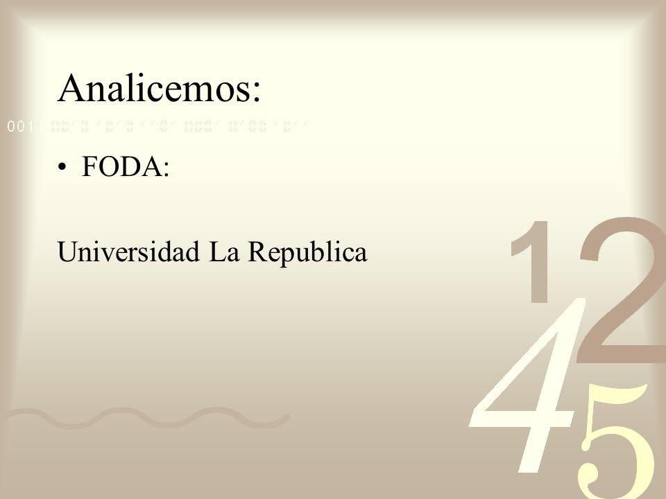 Analicemos: FODA: Universidad La Republica