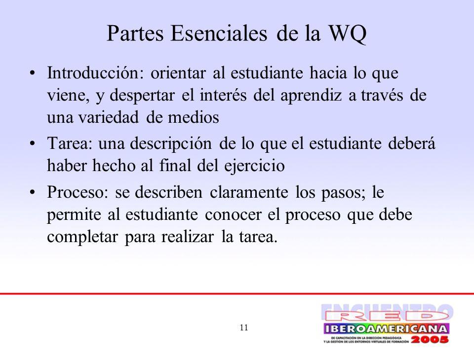Partes Esenciales de la WQ