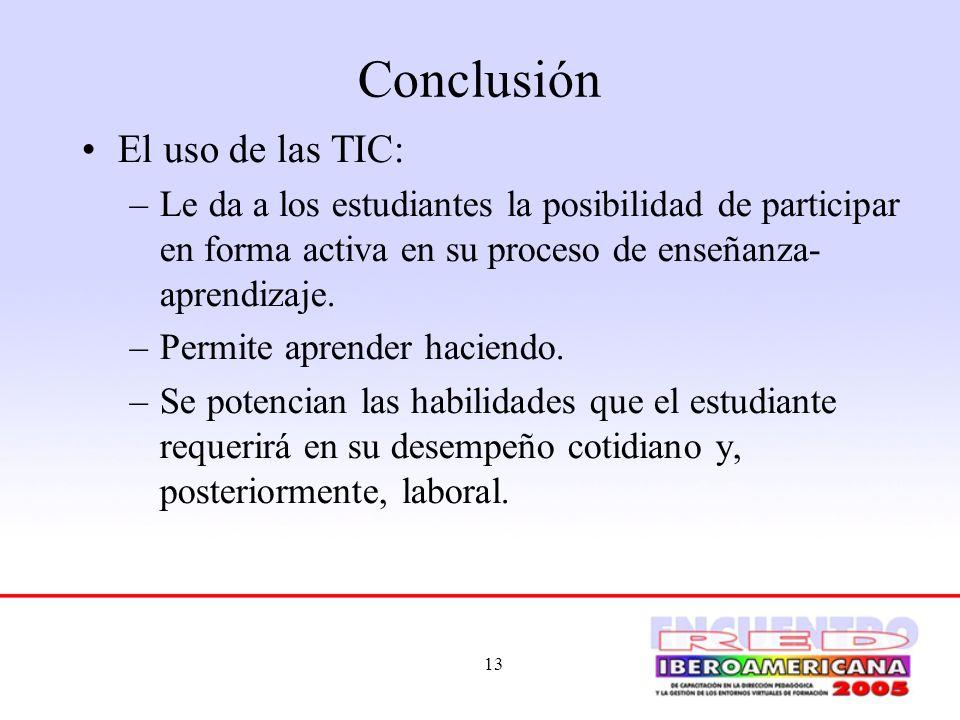 Conclusión El uso de las TIC: