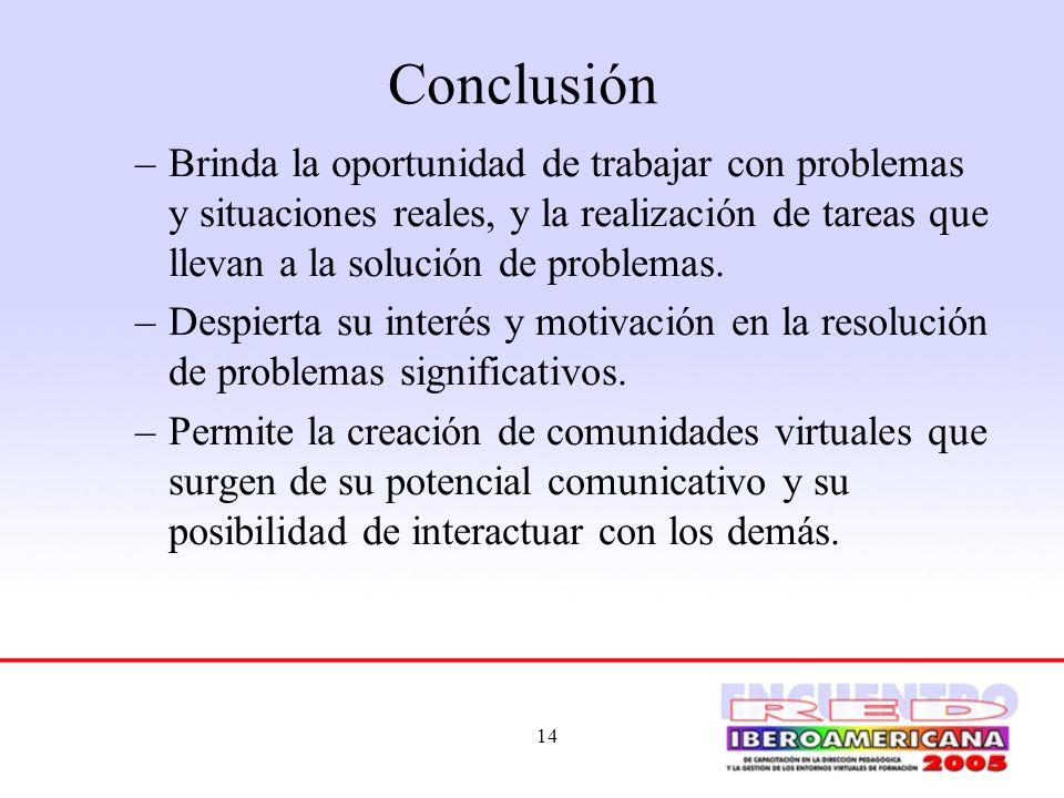 ConclusiónBrinda la oportunidad de trabajar con problemas y situaciones reales, y la realización de tareas que llevan a la solución de problemas.