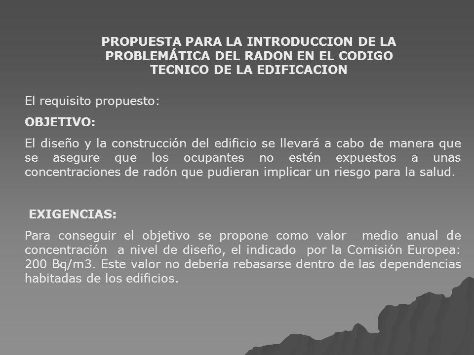 PROPUESTA PARA LA INTRODUCCION DE LA PROBLEMÁTICA DEL RADON EN EL CODIGO TECNICO DE LA EDIFICACION