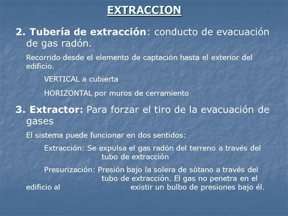 EXTRACCION Tubería de extracción: conducto de evacuación de gas radón.
