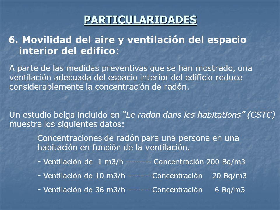PARTICULARIDADES Movilidad del aire y ventilación del espacio interior del edifico: