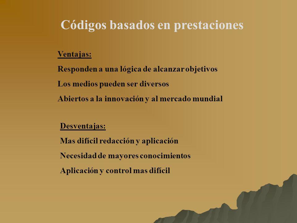 Códigos basados en prestaciones