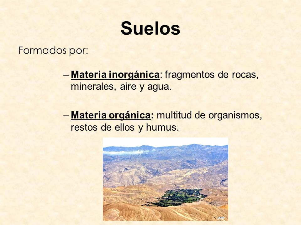 Suelos Formados por: Materia inorgánica: fragmentos de rocas, minerales, aire y agua.
