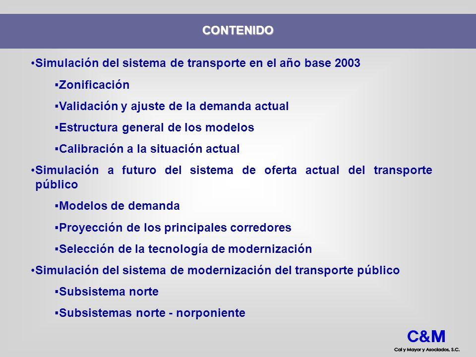 CONTENIDO Simulación del sistema de transporte en el año base 2003. Zonificación. Validación y ajuste de la demanda actual.