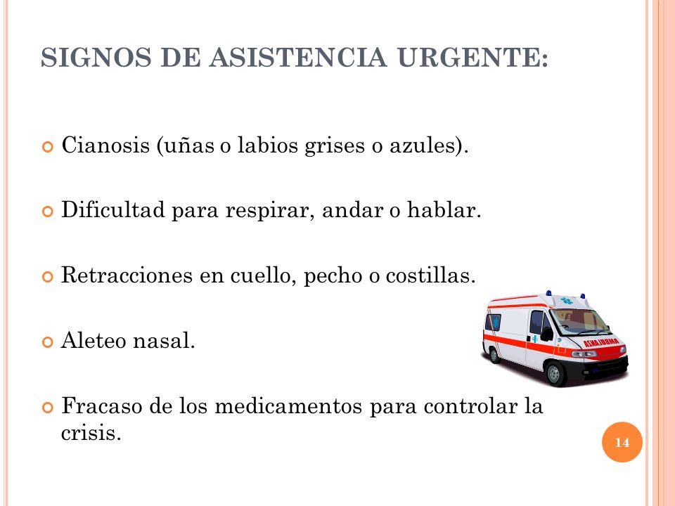 SIGNOS DE ASISTENCIA URGENTE: