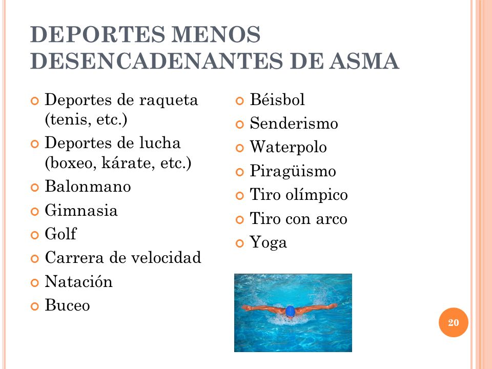 DEPORTES MENOS DESENCADENANTES DE ASMA