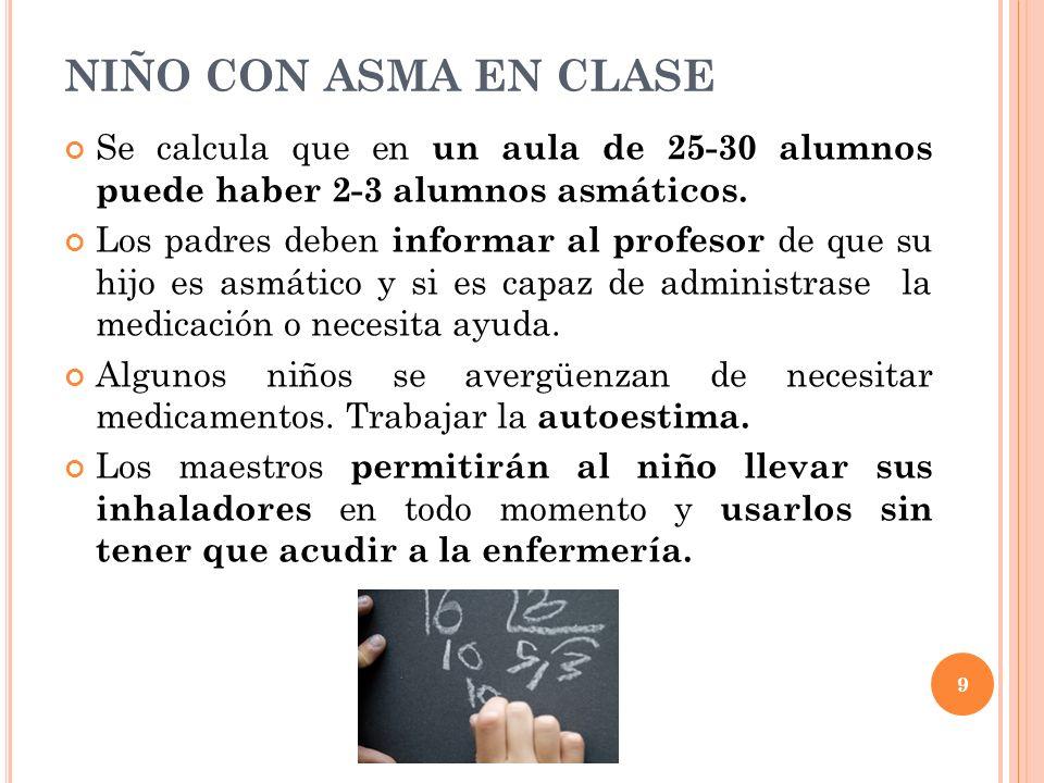 NIÑO CON ASMA EN CLASE Se calcula que en un aula de 25-30 alumnos puede haber 2-3 alumnos asmáticos.