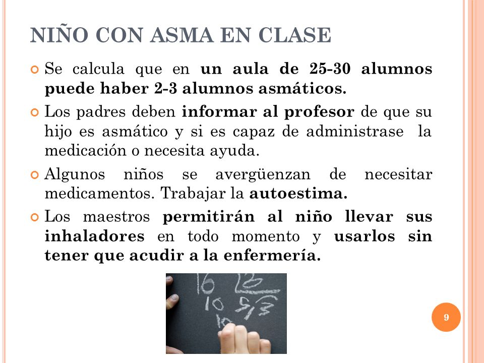 NIÑO CON ASMA EN CLASESe calcula que en un aula de 25-30 alumnos puede haber 2-3 alumnos asmáticos.