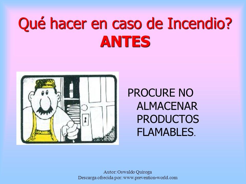 Qué hacer en caso de Incendio ANTES