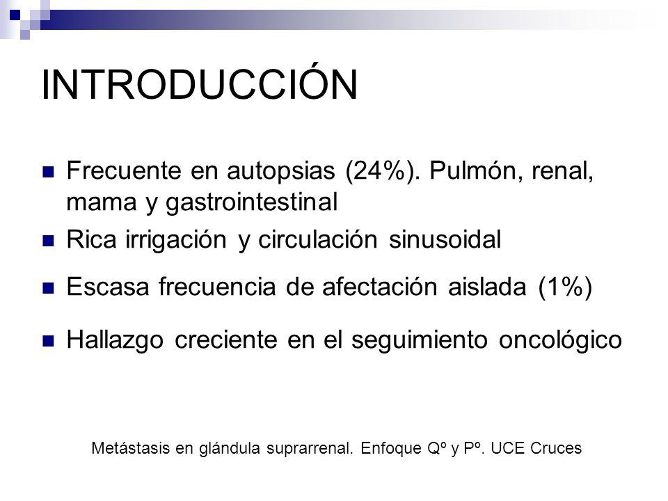 Metástasis en glándula suprarrenal. Enfoque Qº y Pº. UCE Cruces