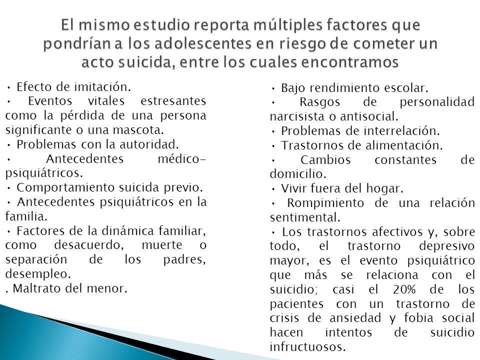 El mismo estudio reporta múltiples factores que pondrían a los adolescentes en riesgo de cometer un acto suicida, entre los cuales encontramos