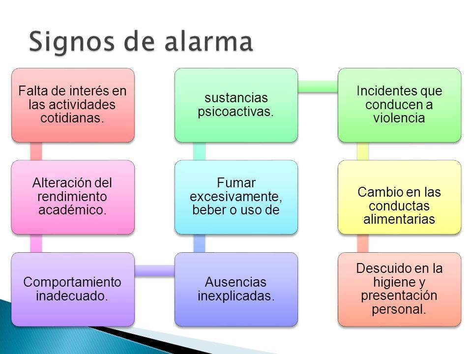 Signos de alarma Falta de interés en las actividades cotidianas.