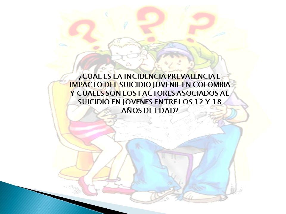 ¿CUAL ES LA INCIDENCIA PREVALENCIA E IMPACTO DEL SUICIDIO JUVENIL EN COLOMBIA Y CUALES SON LOS FACTORES ASOCIADOS AL SUICIDIO EN JOVENES ENTRE LOS 12 Y 18 AÑOS DE EDAD
