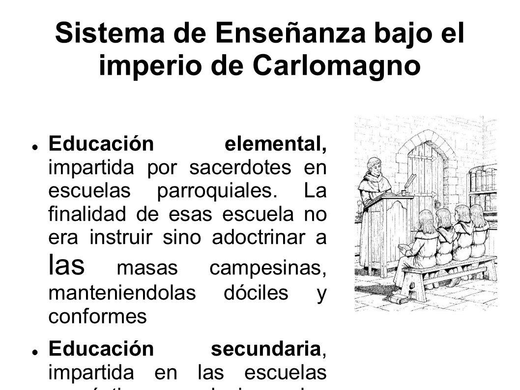 Sistema de Enseñanza bajo el imperio de Carlomagno