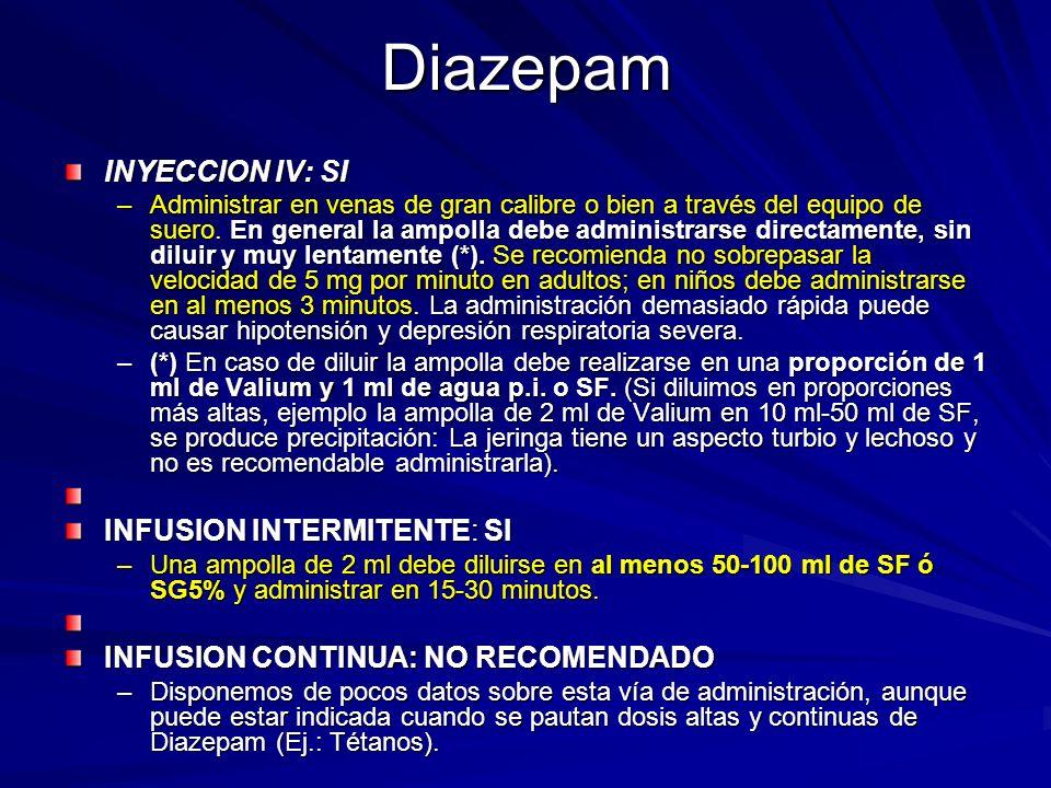 Diazepam INYECCION IV: SI INFUSION INTERMITENTE: SI