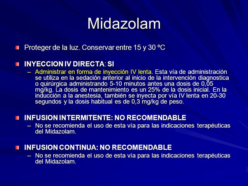 Midazolam Proteger de la luz. Conservar entre 15 y 30 ºC