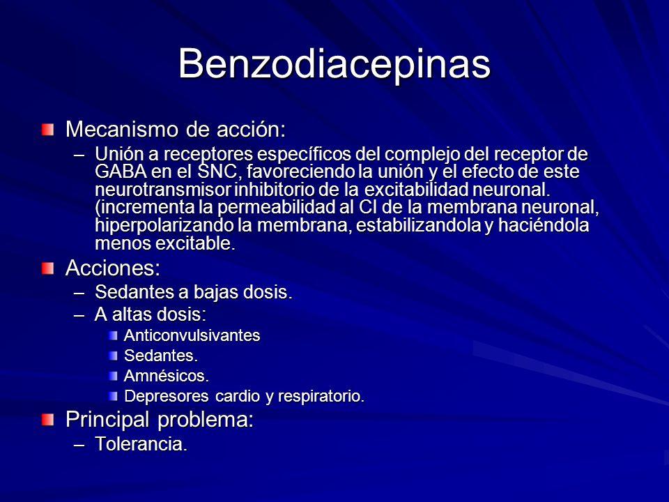 Benzodiacepinas Mecanismo de acción: Acciones: Principal problema: