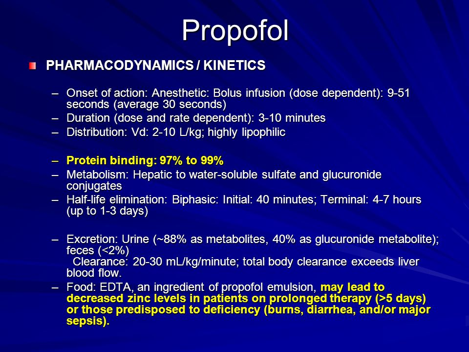 Propofol PHARMACODYNAMICS / KINETICS