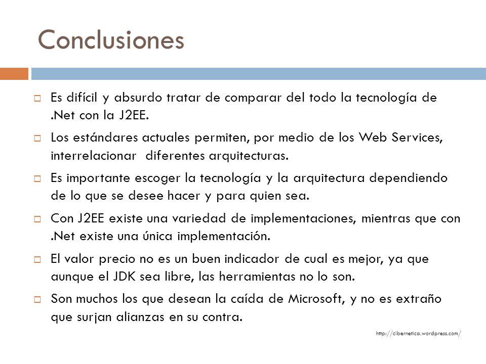Conclusiones Es difícil y absurdo tratar de comparar del todo la tecnología de .Net con la J2EE.