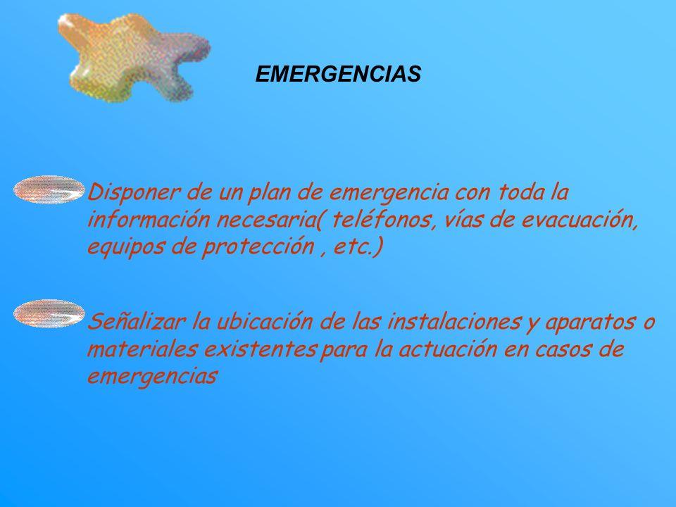 EMERGENCIAS Disponer de un plan de emergencia con toda la información necesaria( teléfonos, vías de evacuación, equipos de protección , etc.)