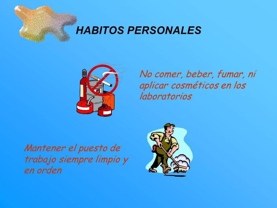 HABITOS PERSONALES No comer, beber, fumar, ni aplicar cosméticos en los laboratorios.