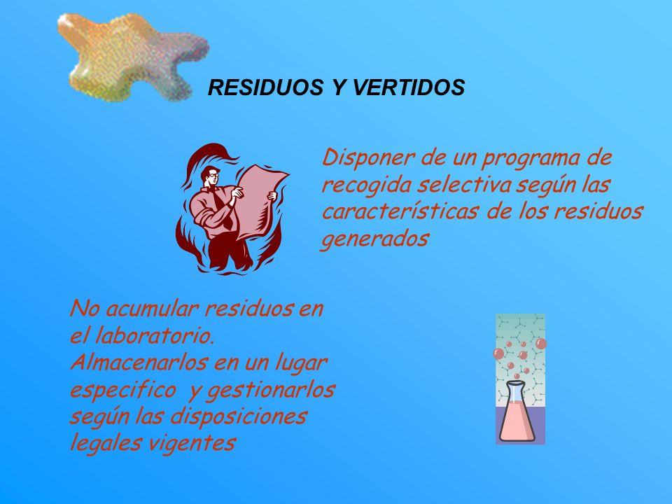 RESIDUOS Y VERTIDOS Disponer de un programa de recogida selectiva según las características de los residuos generados.