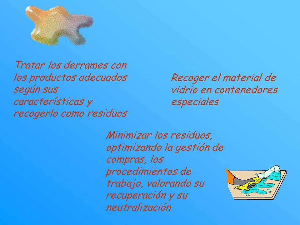 Tratar los derrames con los productos adecuados según sus características y recogerlo como residuos