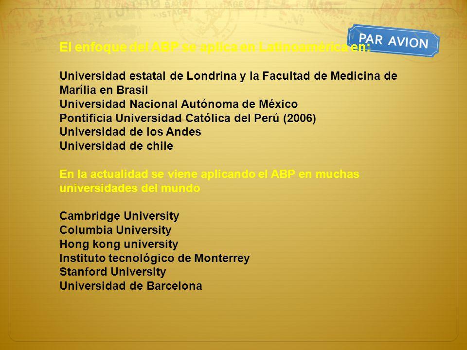 El enfoque del ABP se aplica en Latinoamérica en: