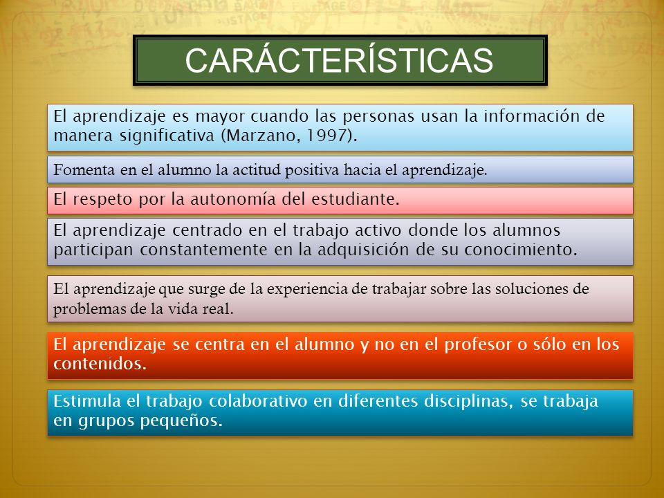 CARÁCTERÍSTICAS El aprendizaje es mayor cuando las personas usan la información de manera significativa (Marzano, 1997).