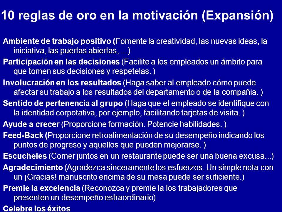 10 reglas de oro en la motivación (Expansión)