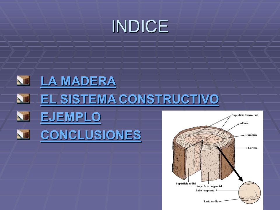 INDICE LA MADERA EL SISTEMA CONSTRUCTIVO EJEMPLO CONCLUSIONES