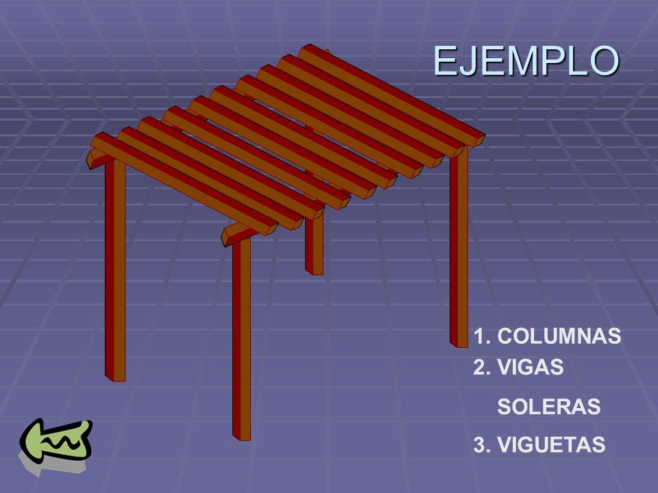 EJEMPLO 1. COLUMNAS 2. VIGAS SOLERAS 3. VIGUETAS
