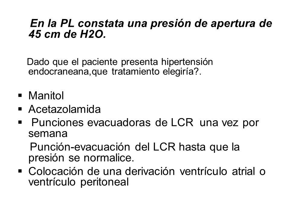 En la PL constata una presión de apertura de 45 cm de H2O.