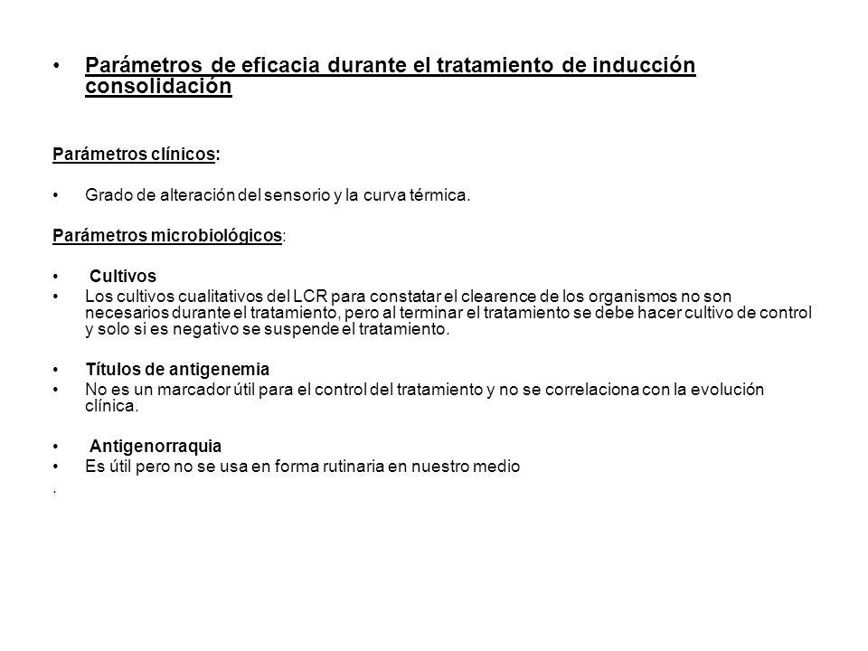 Parámetros de eficacia durante el tratamiento de inducción consolidación