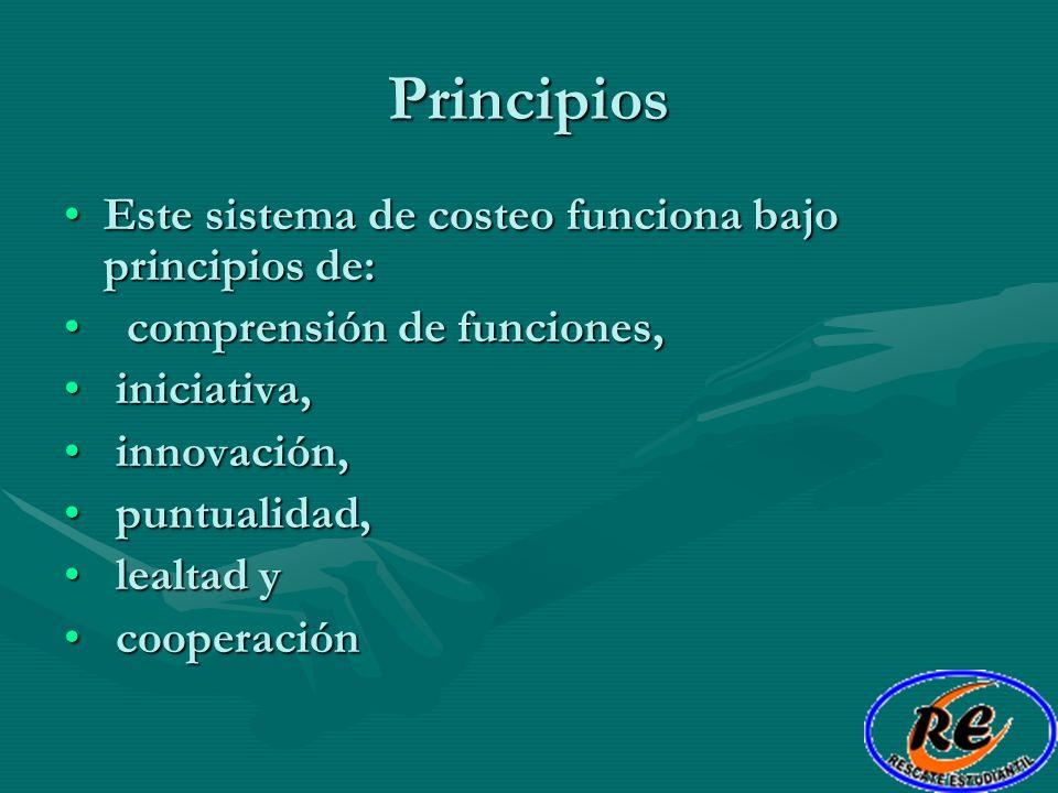 Principios Este sistema de costeo funciona bajo principios de: