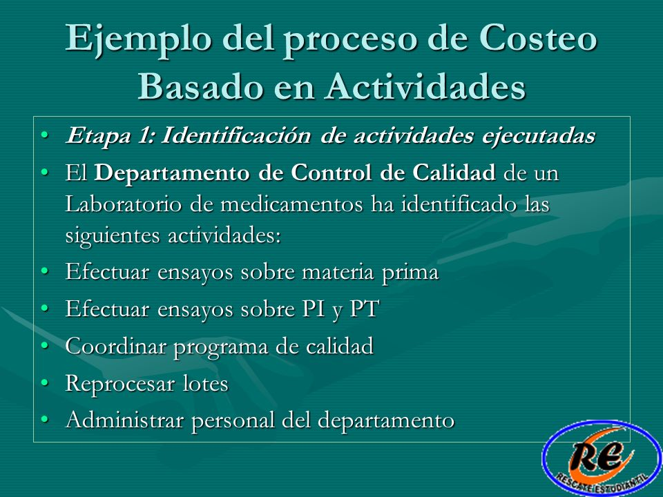 Ejemplo del proceso de Costeo Basado en Actividades