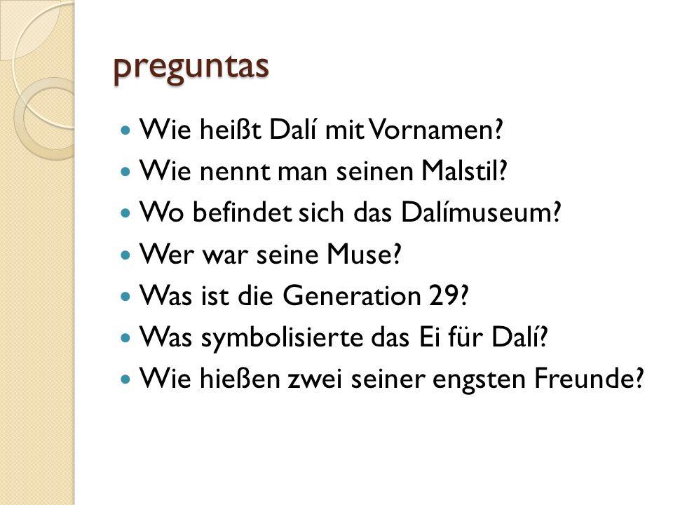 preguntas Wie heißt Dalí mit Vornamen Wie nennt man seinen Malstil
