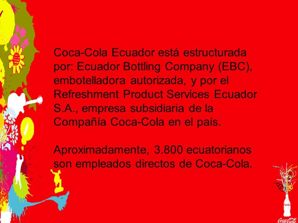 Coca-Cola Ecuador está estructurada por: Ecuador Bottling Company (EBC), embotelladora autorizada, y por el Refreshment Product Services Ecuador S.A., empresa subsidiaria de la Compañía Coca-Cola en el país.
