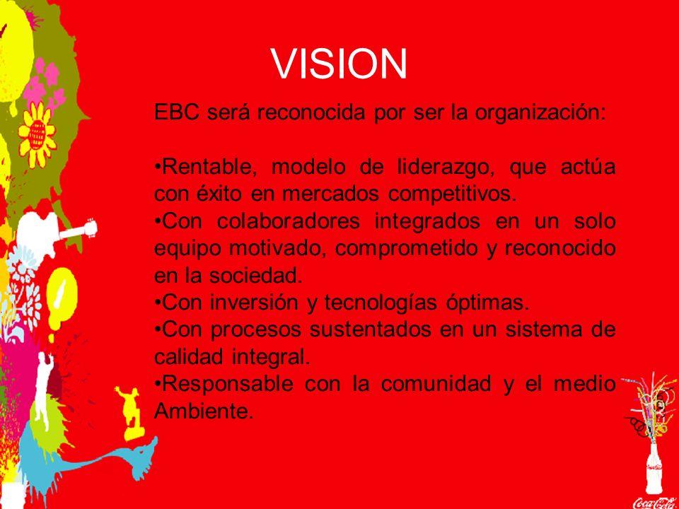 VISION EBC será reconocida por ser la organización: